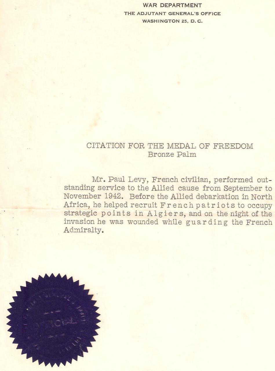 Citation medal of freedom palme de bronze