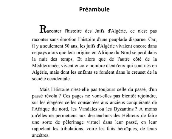 Histoire des juifs d algerie preambule