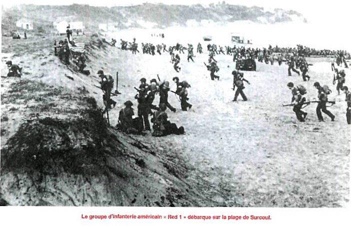 Le grou pe d infanterie ameticain rd 1 debarque sur la plage de sucouf