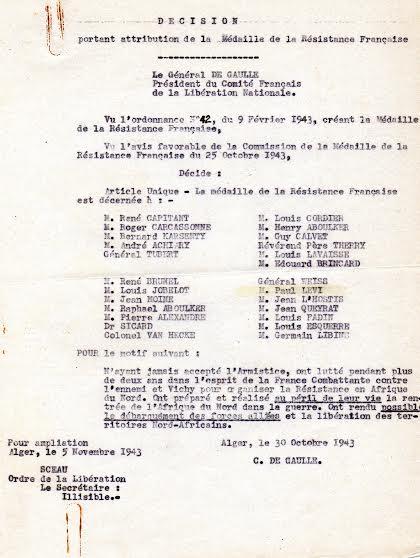 Liste des decores de la medaille de la reistance francaise