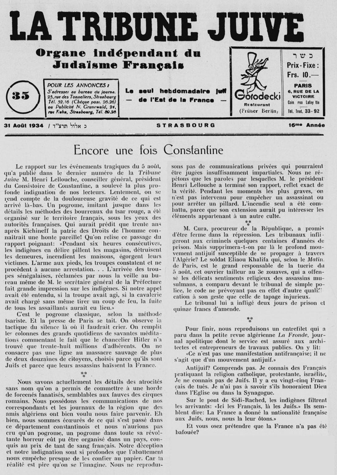10 le pogrom de constantine 5 aout 1934