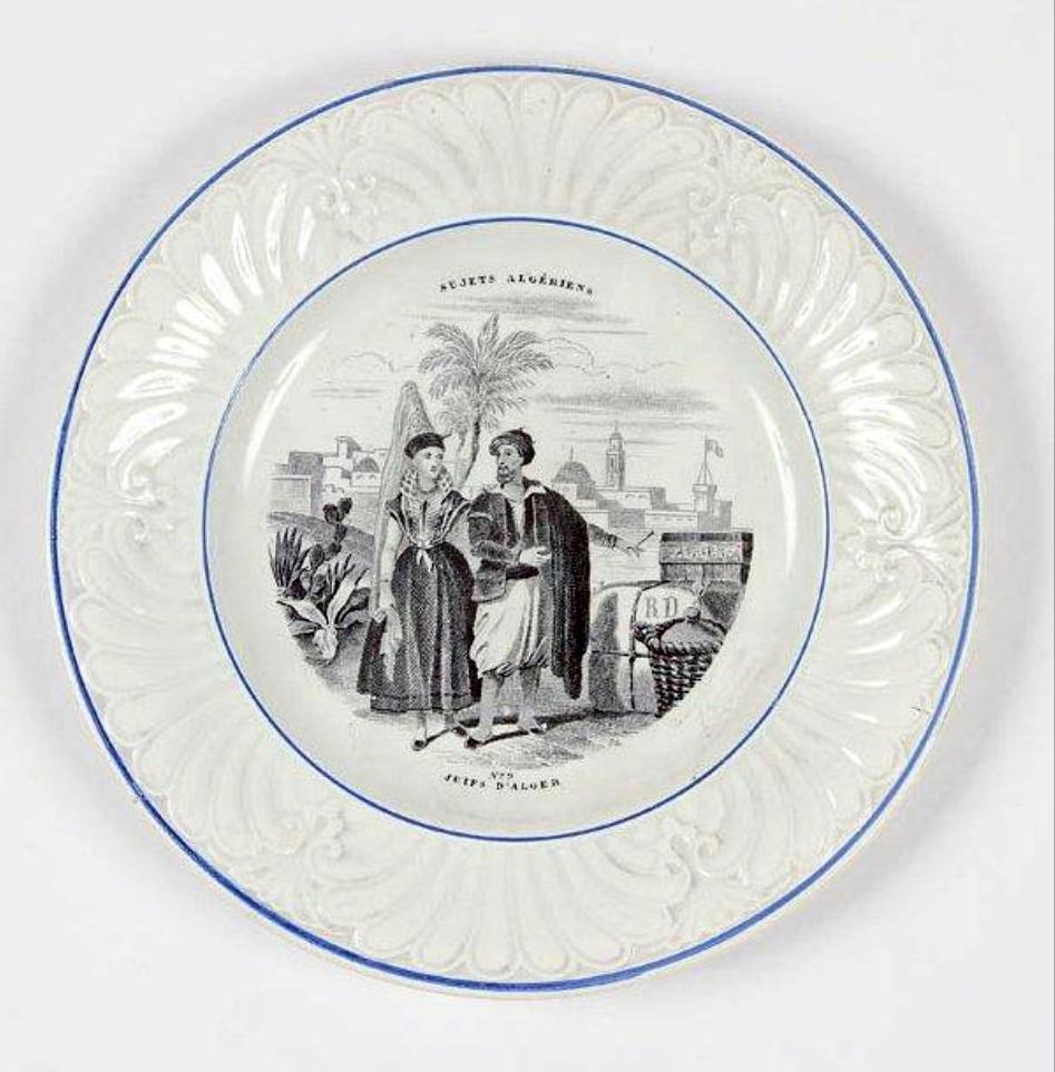 Assiette decoree avec un couple de juifs d alger