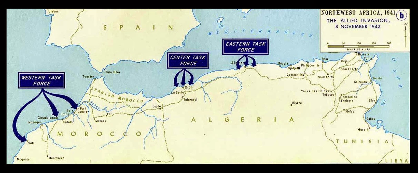 Carte de l operation torch 2