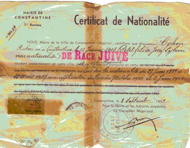 Certificat de nationalite