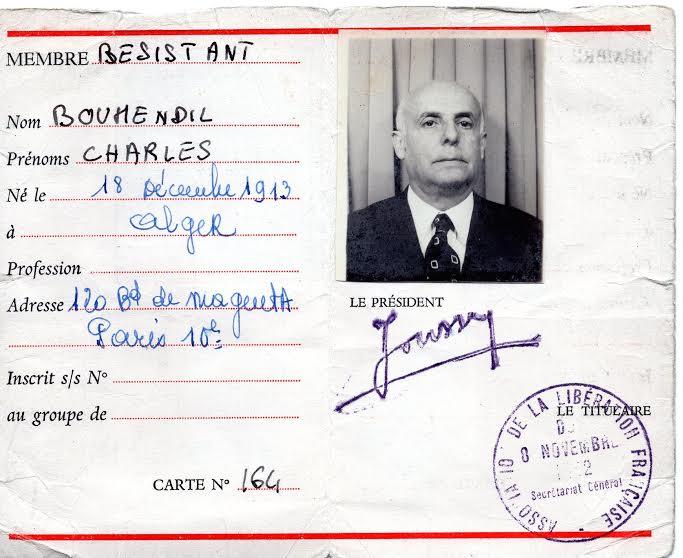 Charles boumendil carte de membre de la liberation francaise