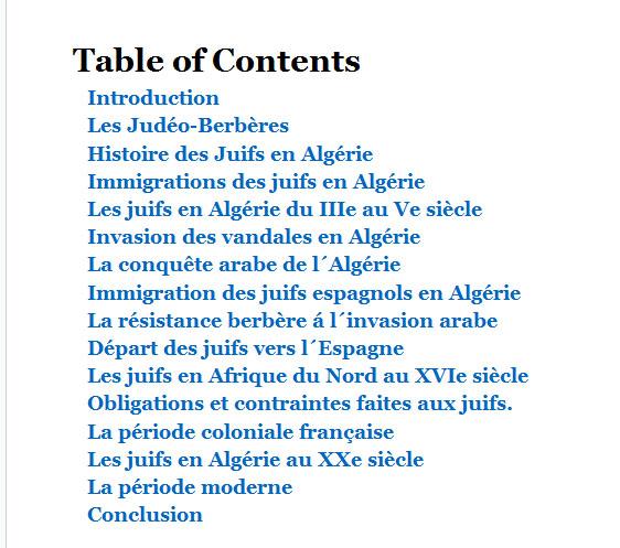 Histoire des juifs en algerie table des matieres