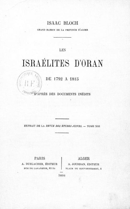 Les israelites d oran couverture