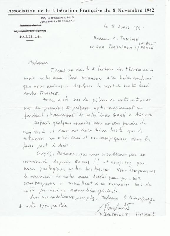 Lettre de bernard pauphilet lors du deces d akndre temime
