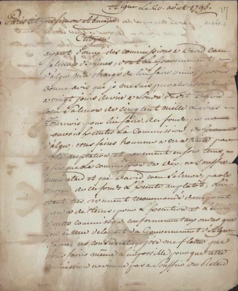 Lettre de joseph coen bacri a son commis 20 aout 1796