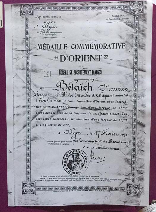 Medaille commemorative d orient