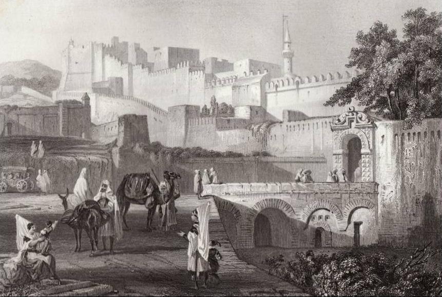 Porte bab azoun gravure originale rouargue 1844