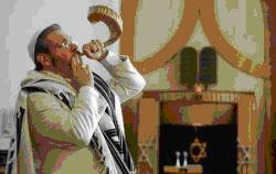 Rabbin sonant le shofar