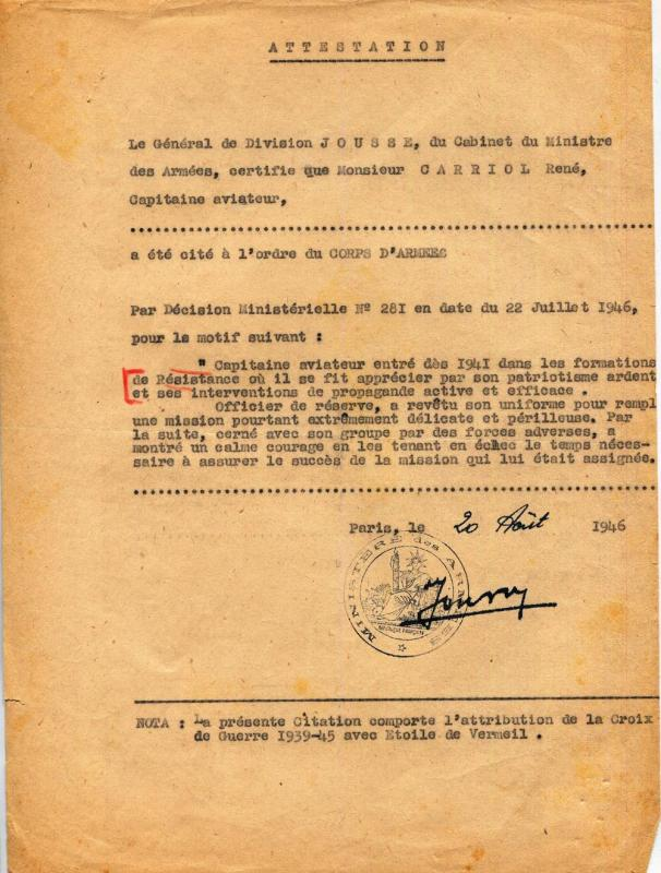 Rene carriol citation et attribution d une croix de guerrel 20 aout 1946